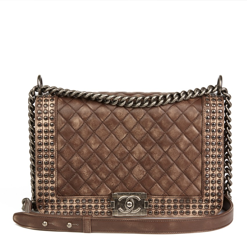e6673e3d6647 Chanel Brown Quilted Studded Distressed Lambskin New Medium Le Bo ...