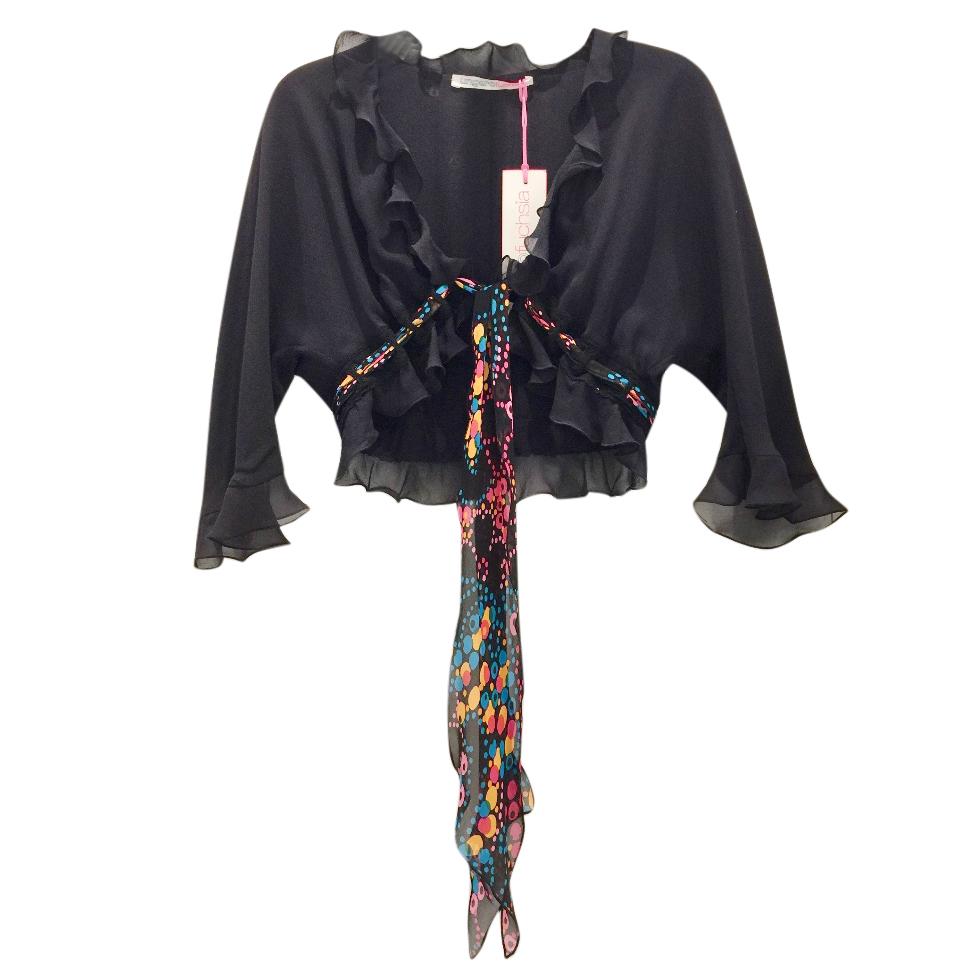 Ungaro Black Silk Ruffled Shrug