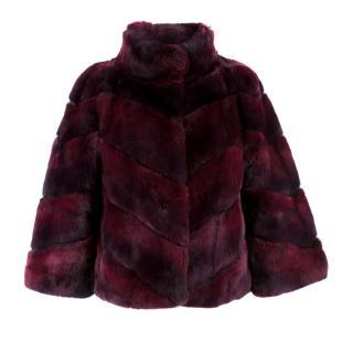 Diane von Furstenberg Purple Rabbit Fur Coat