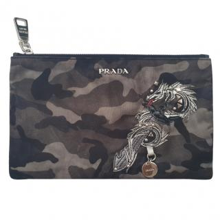 Prada camouflage Dragon embellished pouch