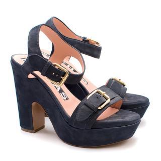 Rochas Navy Suede Platform Sandals