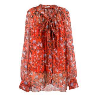 Erdem Rosabel pussy-bow floral-print silk-chiffon blouse