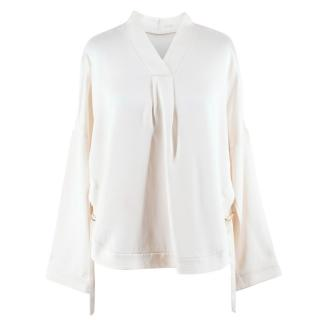Adam Lippes Silk cream long sleeve blouse