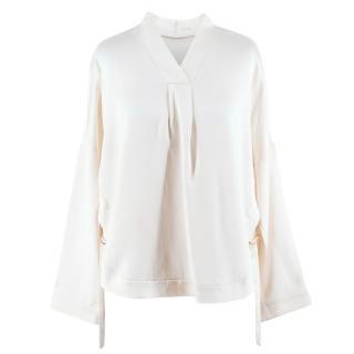 Adam Lippes Silk cream long sleeve blouse