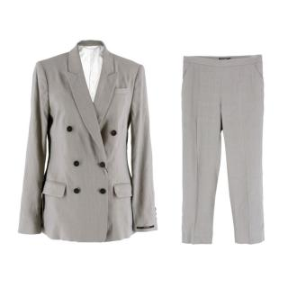 Tiger of Sweden Grey Linen-blend Double Breasted Suit