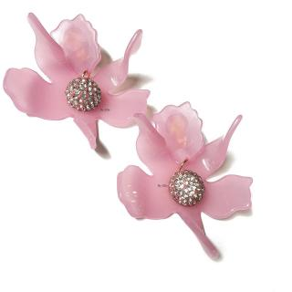 Lele Sadoughi Pink Crystal Lily Clip-On Earrings