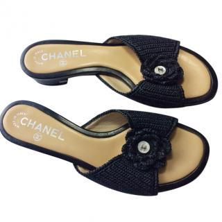 Chanel black camelia flat shoes