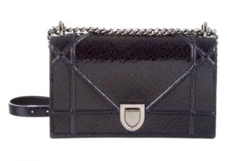 Dior Black Patent Cracked Leather Diorama Bag