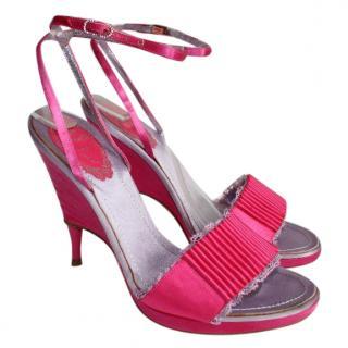 Rene Caovilla Pink Satin Crystal Lace Heels
