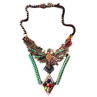 Shourouk Crystal Bead Multicolour Eagle Statement Necklace