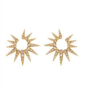 Oscar de la renta 14k Gold Plated Pave Crystal Sea Urchin Earrings