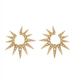 Oscar de la renta 14k Gold Plated Pave Crystal Sea Urchin Earrings