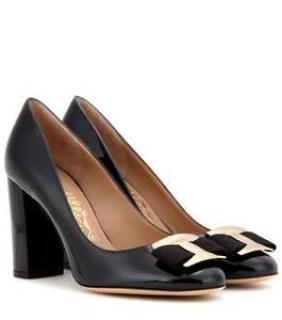 Salvatore Ferragamo Ninna 85 Black Patent Pumps