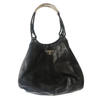 Prada Top Handle Soft Leather Handbag