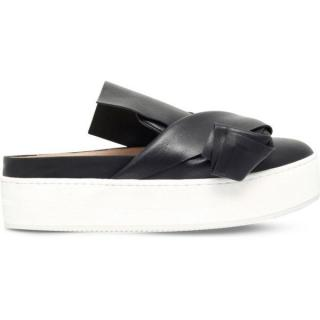 No.21 Black Leather Bow Skate Mules