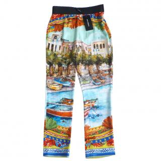 Dolce & Gabbana Cannes Silk Cropped Trousers