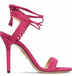 Charlotte Olympia Lace-up scalloped suede sandals