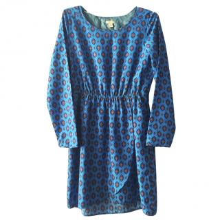 J.Crew Blue Medallion Print Tulip-Hem Dress