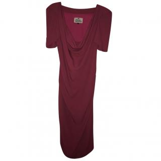 Vivienne Westwood raspberry draped structured dress