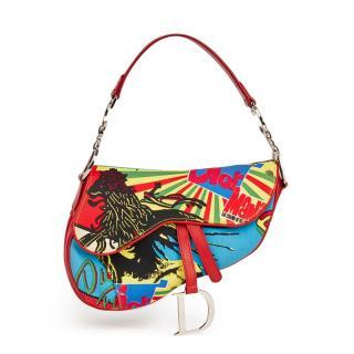 Christian Dior Multicolour Canvas & Red Calfski Rasta Mania Saddle Bag