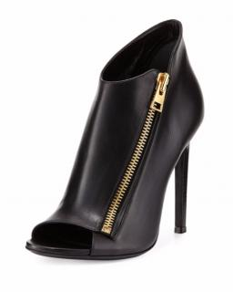 Tom Ford Black Zip-Front Leather Boots