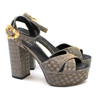 Dolce & Gabbana Embellished Lame Platform Sandals - Current Season