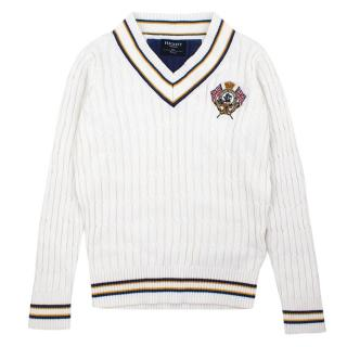 Hackett London White Cable Knit Jumper