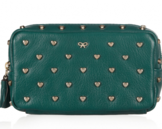 Anya Hindmarch Green Studded Heart Calf Leather Cosmetics Case