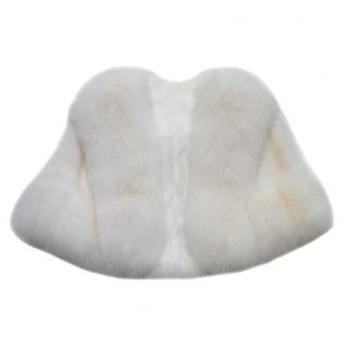 Bespoke White Mink & Fox Fur Cape