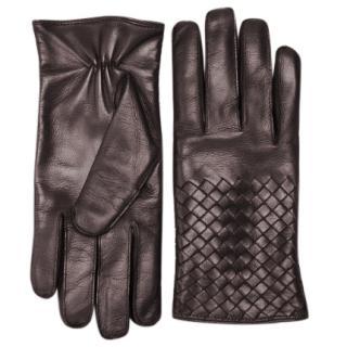Bottega Veneta Espresso Intrecciato Soft Nappa Gloves