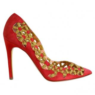 Rupoert Sanderson Red & Gold Suede High Heel Pumps