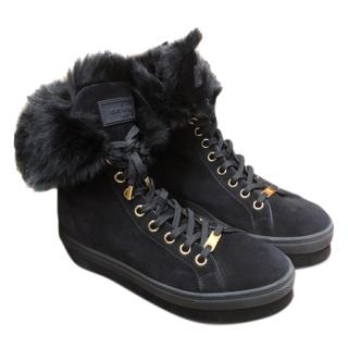 Louis Vuitton Black Suede Shearling Lined Boots