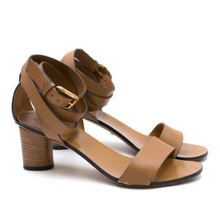 0b78498bb28 Gucci Brown Candy Suede   Leather Mid-Heel Sandals