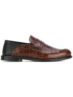 Loewe Crocodile effect leather loafer in brown/black.