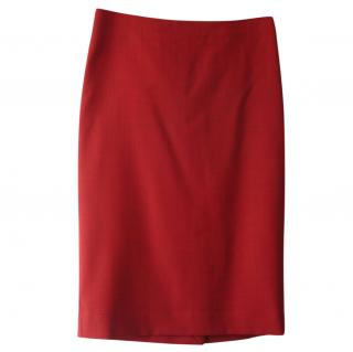 Marni red wool pencil skirt