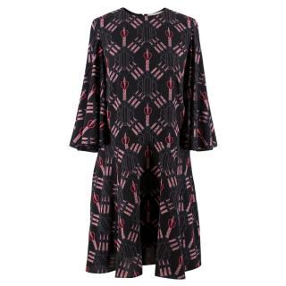 Valentino Love Blade Printed Silk Dress