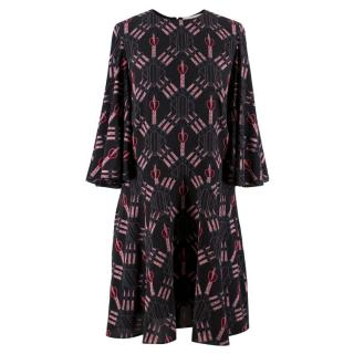 Valentino Love Blade Printed Silk Dress