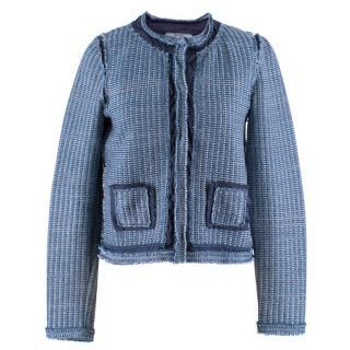 Prada Blue Woven Knit Jacket