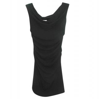 Helmut Lang black ruched cut-out dress