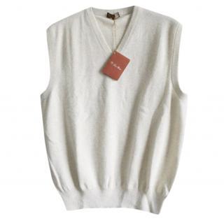 Loro Piana men's grey cashmere knit vest