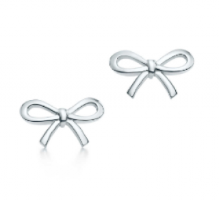 Tiffany Silver Bow Stud Earrings