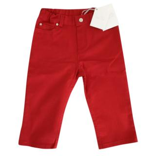 Christian Dior Baby Dior Trousers in red cotton gabardine