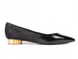 Salvatore Ferragamo Black Leather Bari Ballet Flats