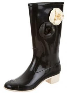 Chanel Black & White Camellia Rain Boots