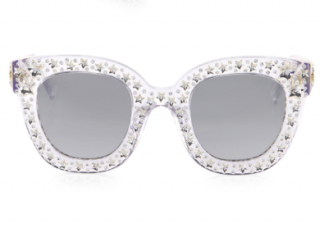 948173373824 Gucci Metallic Oversize Crystal Star Mirrored Square Sunglasses