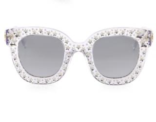 Gucci Metallic Oversize Crystal Star Mirrored Square Sunglasses