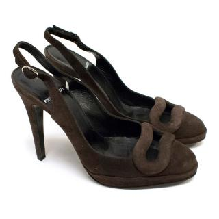 Pierre Hardy Suede Sling Back Sandals