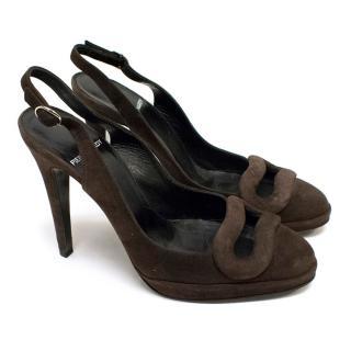 Pierre Hardy Suede Sling Back Sandals