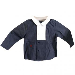Baby Dior Blue cotton poplin shirt with bandana print