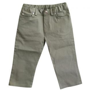 Baby Dior green cotton gabardine trousers